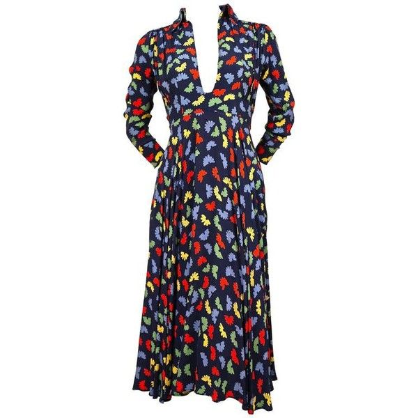 Preowned 70's Ossie Clark For Quorum 'celia Birtwell' Fan Printdress... ($3,200) ❤ liked on Polyvore featuring dresses, black, day dresses, preowned dresses, ossie clark, zip up dress, plunging neckline dress and tie back dress