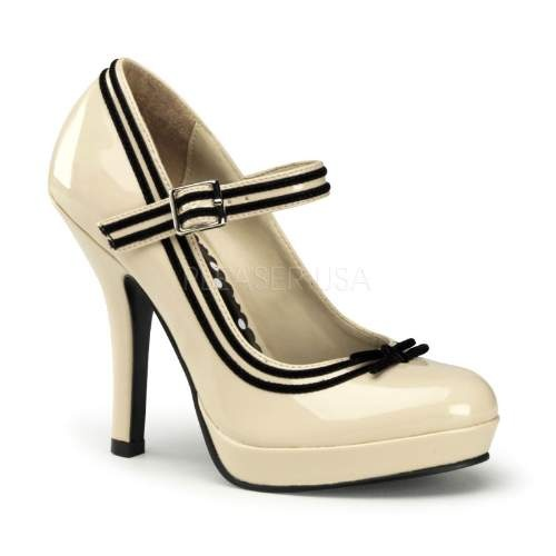Fabulous Mary Jane's in cream with black velvet trim and cute bow.
