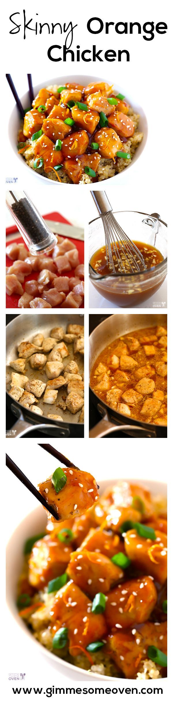 SKINNY Orange Chicken Recipe -- All of the flavor you love, without all of the calories! | gimmesomeoven.com #chicken #healthy #newyears