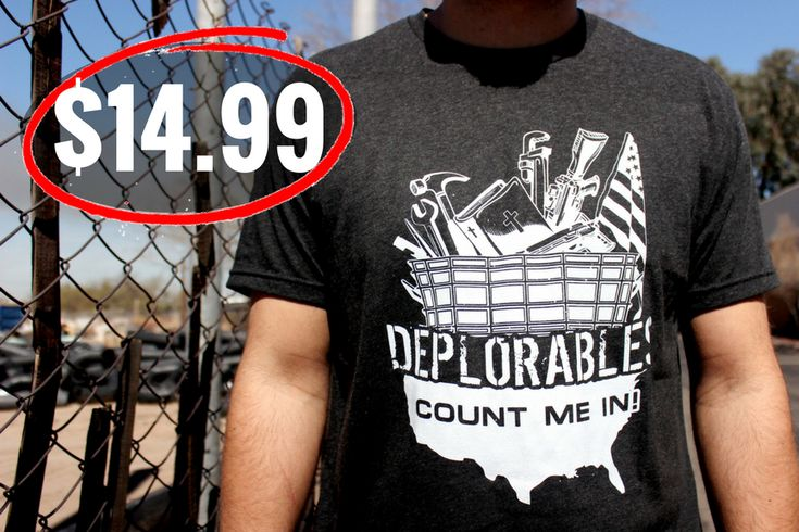 """Deplorables T-Shirt for only $14.99!  """"As a proud Deplorable, my husband wears this all the time. Soft material and well made. Love it!"""" #VeteranOwned #VeteranOperated #BottleBreacher #BreacherUp #MadeintheUSA #GivingBack"""