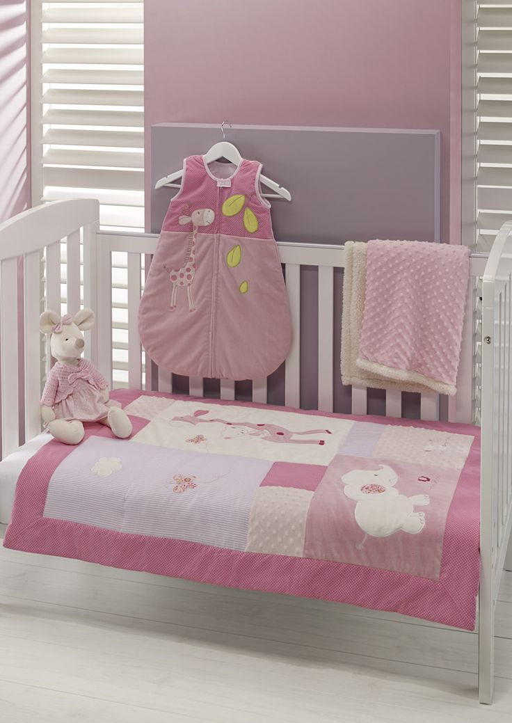 Pink Giraffe baby cot range including, Comforter, plush blanket, soft mouse toy, and sleep suit' beautiful for new baby girls nursery