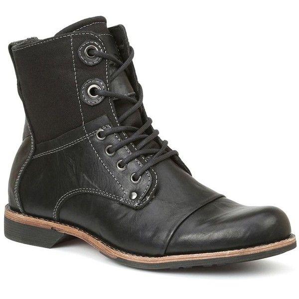 GBX Men's Combat Boots (465 RON) ❤ liked on Polyvore featuring men's fashion, men's shoes, men's boots, black, mens combat boots, mens cap toe boots, mens black lace up boots, mens lace up boots and mens leather combat boots