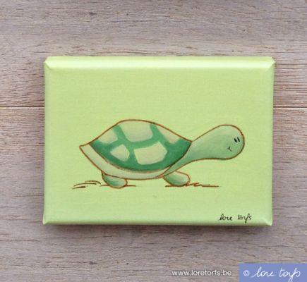 Canvas voor in baby- of kinderkamer - 18x13 cm - schildpad op lichtgroene achtergrond. Handgeschilderd!