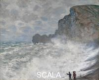 ******** Rough weather at Étretat, 1883. Found in the collection of the National Gallery of Victoria, Melbourne. Artist: Monet, Claude (1840-1926)