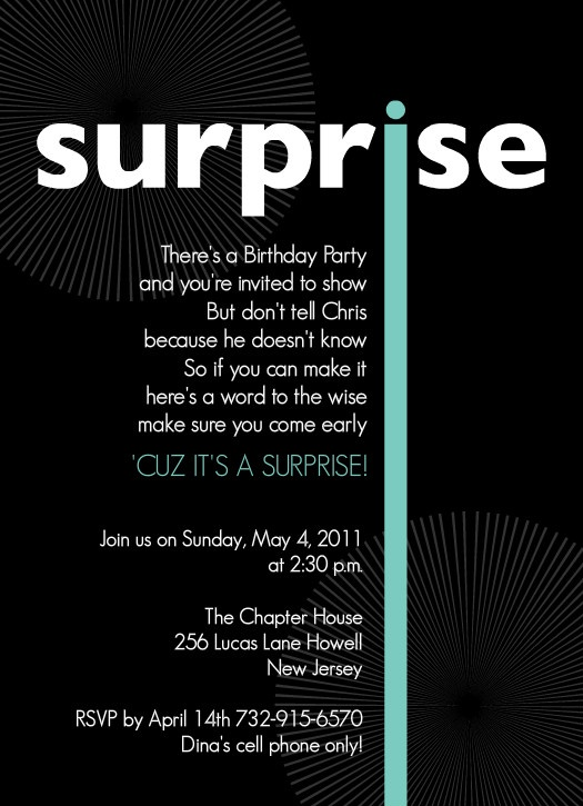 Black White And Light Blue Surprise Birthday Party Invitation By PurpleTrail