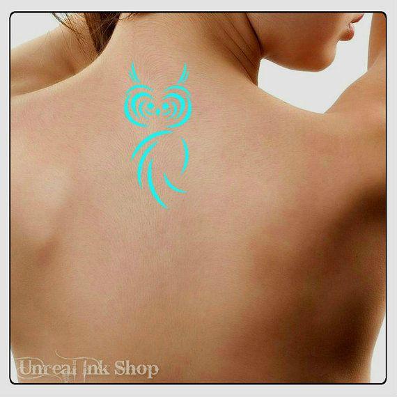 Tatuaggio temporaneo gufo impermeabile Ultra sottile realistici tatuaggi finti
