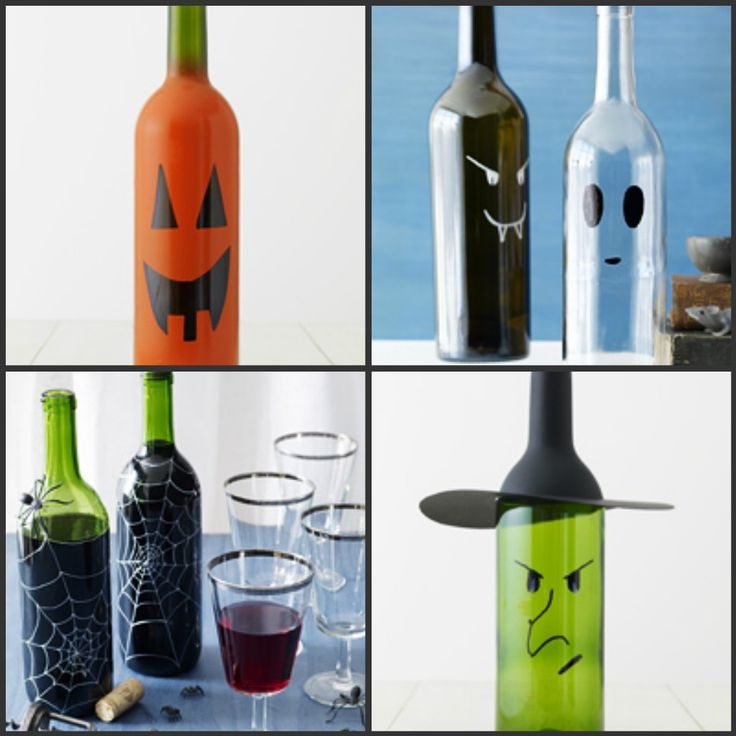 empty wine bottle ideas halloween pinterest crafts
