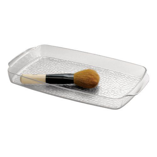 InterDesign Rain Vanity Tray, Clear by InterDesign. $10.99. Durable resipreme plastic. Saves bathroom space. Keeps bathroom accessories organized. Built-in handles. Great vanity accessory. Save space and add style with rain bathroom accessories. durable textured clear resipreme and polished chrome wire allow these pieces to blend into any décor, while still adding their own unique touch. this tray can be nestled anywhere on your vanity, creating a neat place to store makeup, lo...