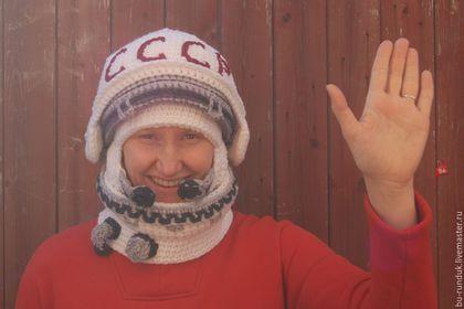 Шапки ручной работы. Ярмарка Мастеров - ручная работа. Купить вязаная шапка ШЛЕМ первого космонавта. Handmade. Белый