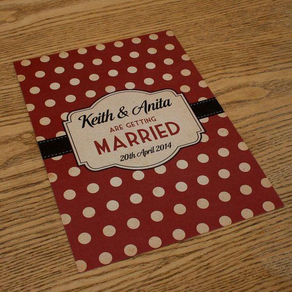 Spotty Themed Vintage Retro Wedding Invitations by magikstationery