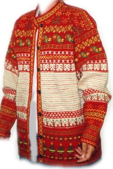 The traditional Finnish fishermen's, Korsnäs sweater - Finland Neuletakki