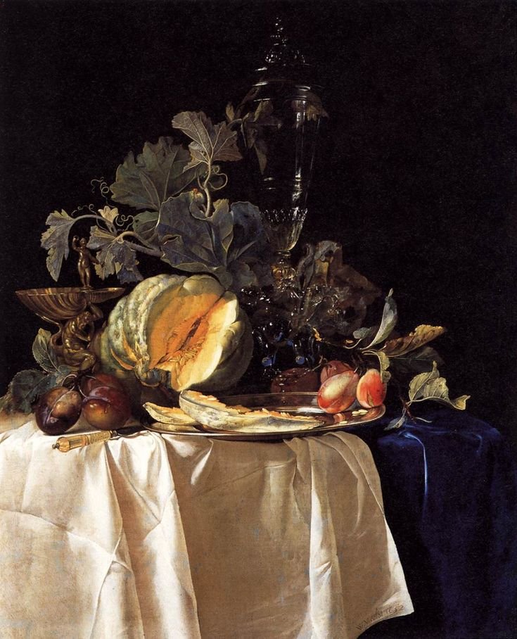 Willem van Aelst (Dutch, 1627-1683): Still-Life with Fruit and Crystal Vase 1652 Oil on canvas, 73 x 58 cm Galleria Palatina (Palazzo Pitti), Florence
