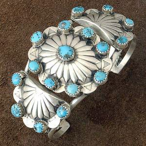 Cuff   Unknown Navajo Artist.  Sterling silver and Sleeping Beauty Turquoise.