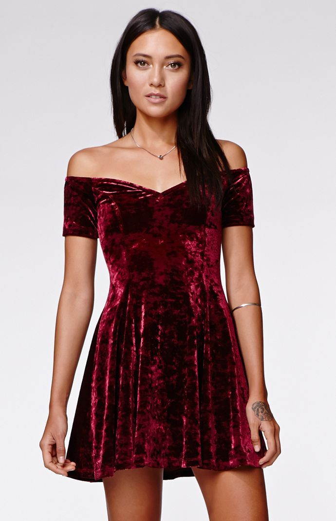 "A PacSun.com Online Exclusive! The Off Shoulder Fit N Flare Dress by Kendall & Kylie for PacSun.com offers a velvet construction and cool skater style. We love the off shoulder look and soft fabric. Throw on a pair of ankle boots to complete this stylish look!	30"" length	Measured from a size small	Model is wearing a small	Her measurements: Height: 5'9"" Bust: 32"" Waist: 25"" Hips: 35""	90% polyester, 10% spandex	Machine washable	Imported"