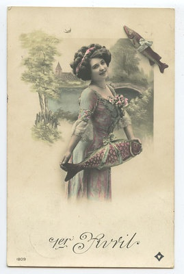 Another lovely Edwardian April 1st postcard featuring a pretty gal and some fish. #vintage #April_Fools_Day #fish