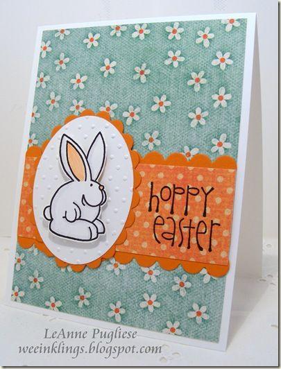 cute handmade Easter card ... like how the orange and aqua make a lively paring ... punny sentiment ...