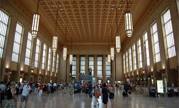 #PHL's historic 30th Street Station, one of America's finest transportation hubs has been a #PHL landmark since it's opening in 1933. Noted for its neoclassical structure and intricately patterned high ceilings, travertine walls and Tennessee Marble floors, this magnificent building is a destination in and of itself.