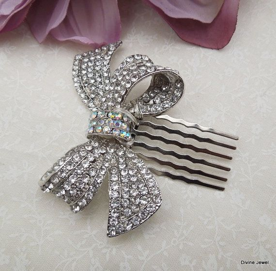 Rhinestones Bow BroochStatement Hair CombWeddding by DivineJewel