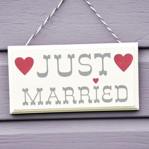 Señal madera Just Married
