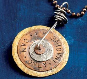 metal stamped I Can Only Imagine spinner pendant by Kristi Evenson  - from 6 Tips for Easy Metalsmithing + Learn to Make Metal Jewelry Without Soldering or Sawing