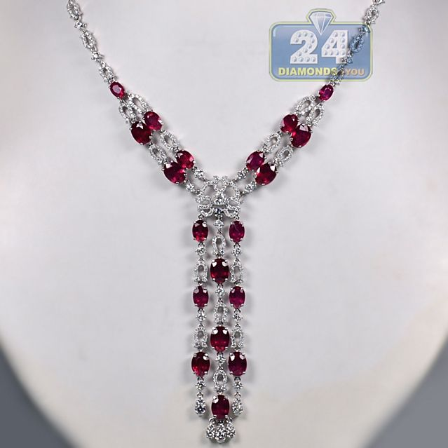 66f41afd804 Womens 29.02 Carat Red Ruby Gemstone Diamond Custom Vintage Drop Style Y  Shape Necklace 14K White Gold