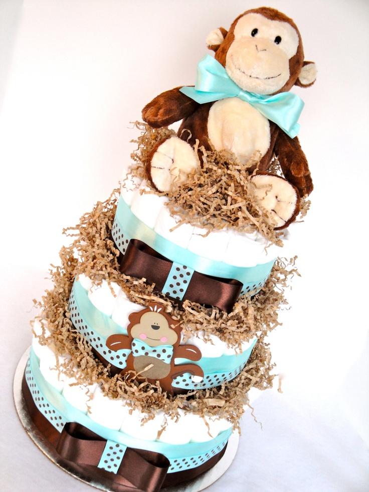 Diaper Cake - Monkey Baby Diaper Cake
