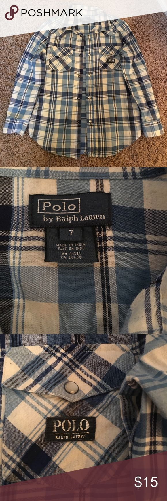 Selling this Polo blue and white checkered long sleeve shirt. on Poshmark! My username is: glamour4sale. #shopmycloset #poshmark #fashion #shopping #style #forsale #Polo by Ralph Lauren #Other