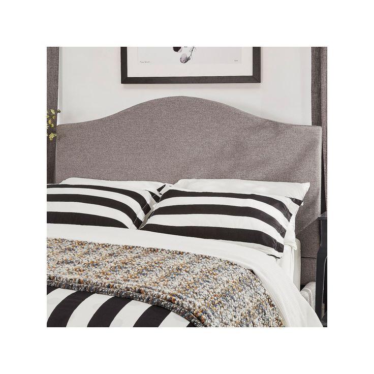 HomeVance Lakeview Camelback Linen Headboard, Grey