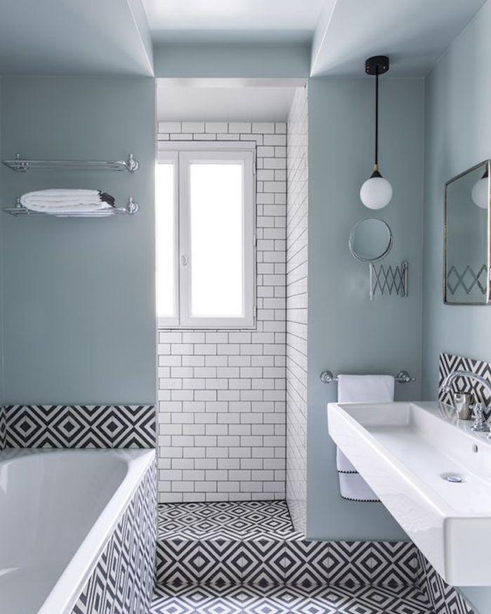 Bleu Glacier Salle De Bain Graphique Noir Et Blanc Miroir Carreau