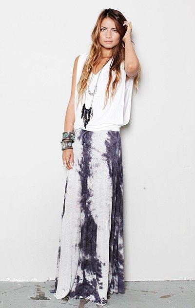 Tie dyed maxi skirt, relaxed white singlet & boho adornment.