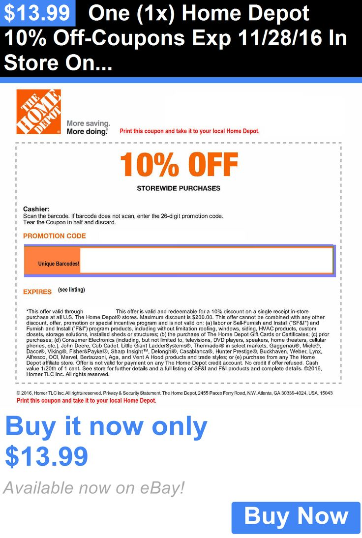 Coupons One (1X) Home Depot 10 OffCoupons Exp 11/28/16