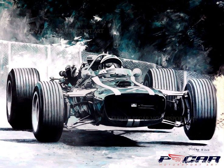 Motor Racing Art   1967 German Grand Prix At The Nürburgring, Pedro  Rodriquez On Cooper
