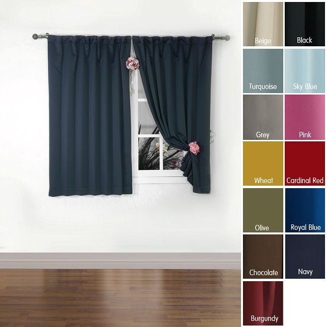 Aurora Home Solid Insulated Thermal 63 Inch Blackout Curtain Panel Pair By  Aurora Home  Short Blackout Curtains