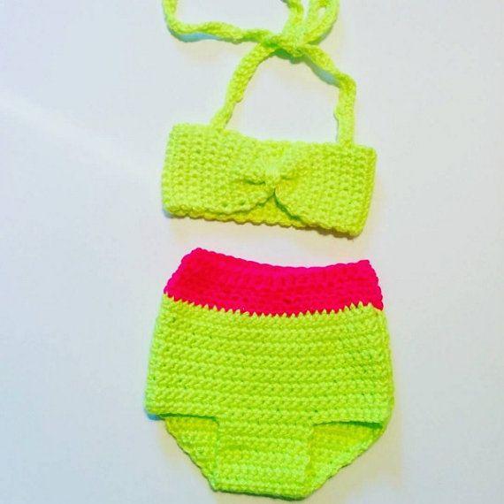 Crochet Baby Bikini, high waisted, bandeau style top. Custom size and colors…