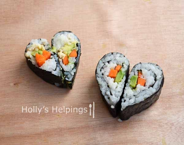 Heart Shaped Sushi - pretty easy. Make sushi the normal way, squishing it on one side to make a teardrop shape. Then squoosh two slices together. Ta-da!
