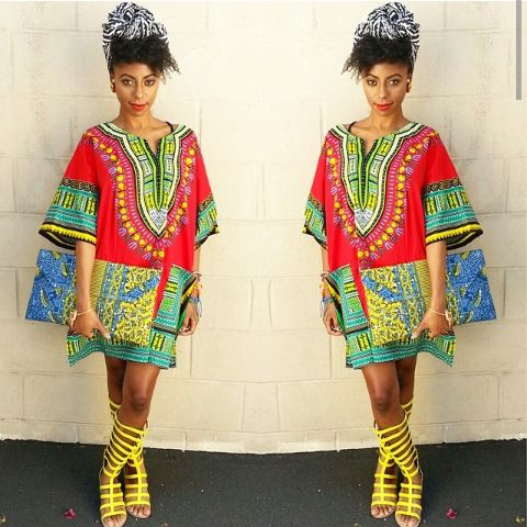 Dashiki shirt worn as a dress ~African fashion, Ankara, kitenge, African women dresses, African prints, Braids, Nigerian wedding, Ghanaian fashion, African wedding ~DKK
