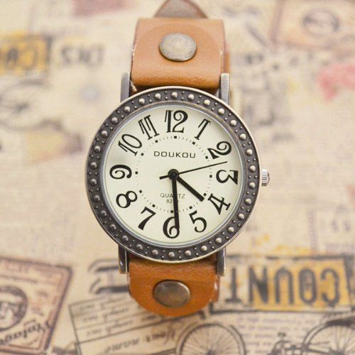 MagicPiece Handmade Vintage Style Leather Watch For Women Big Dial Cow Leather Watch of Vintage Style in 5 Colors: Light Brown: Watches: Ama...