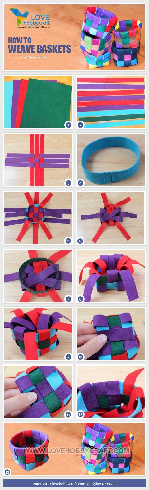Basket weaving fabric diy - Come intrecciare cesti con strisce di tessuto (tutorial)