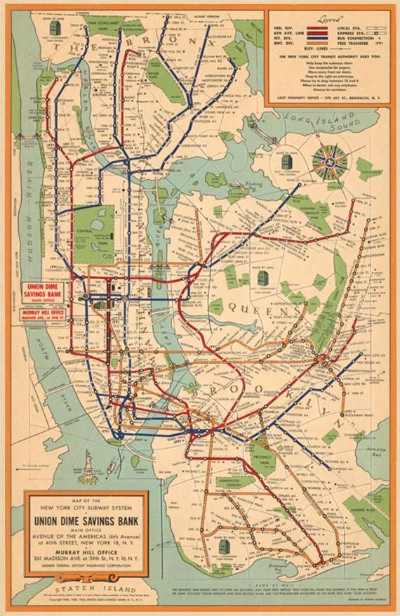 Queens Subway Map With Streets.New York City Subway System Map Nyc Subway Map Vintage Map