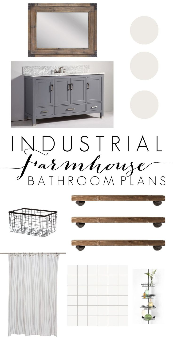 Looking to redo your bathroom? This Industrial Farmhouse Bathroom Inspiration is the perfect blend of wood and metal to combine two very popular styles!