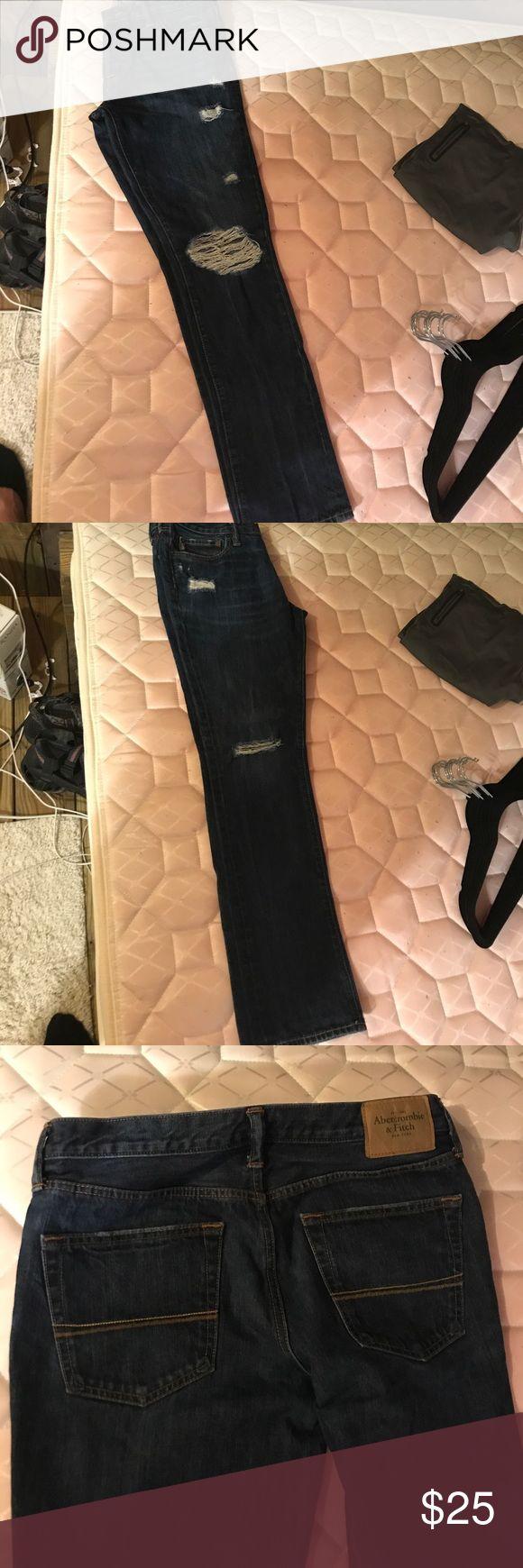 Abercrombie Men's Skinny Jeans Size 33, 32 dark wash distressed men's Abercrombie skinny jeans Abercrombie & Fitch Jeans Skinny