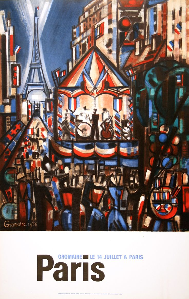 PARIS 14 JUILLET, Bastille Day. Original vintage poster from 1956 by GROMAIRE