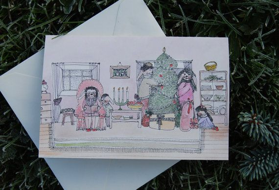 Christmas card Christmas drawing print by mydesignpictures on Etsy