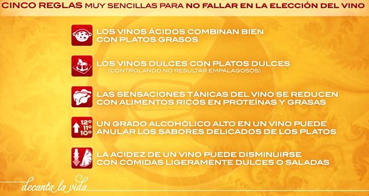 Cinco reglas muy sencillas para acompañar nuestras comidas con el vino apropiado