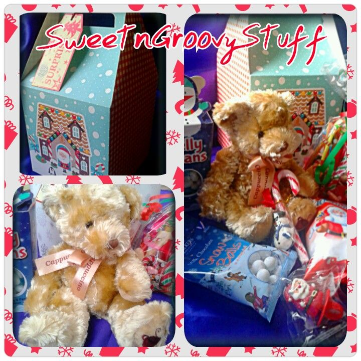 #Teddy n Treats #Surprise Box This #Sweetngroovystuff gift is a #festive box containing: Chocolate Kinder Minis, #Chocolate #Snowballs, #Jelly beans, Pick 'n' Mix #Sweet Bomb, #candy cane and a #Gorgeous #Russ Berrie 'Cappuccino' #Bear, with #gift tag www.facebook.com/sweetngroovystuff
