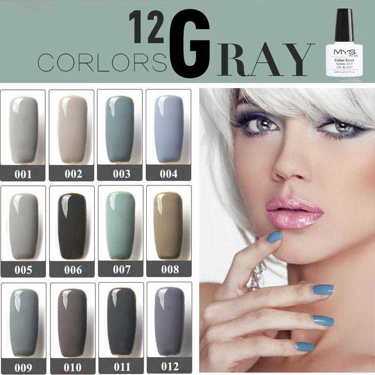 MYS 12 color UV Gel Nail Polish UV LED Soak off Long Lasting Gel Polish Nail Gel Sexy Grey Colors Series lacqure nail uv gel