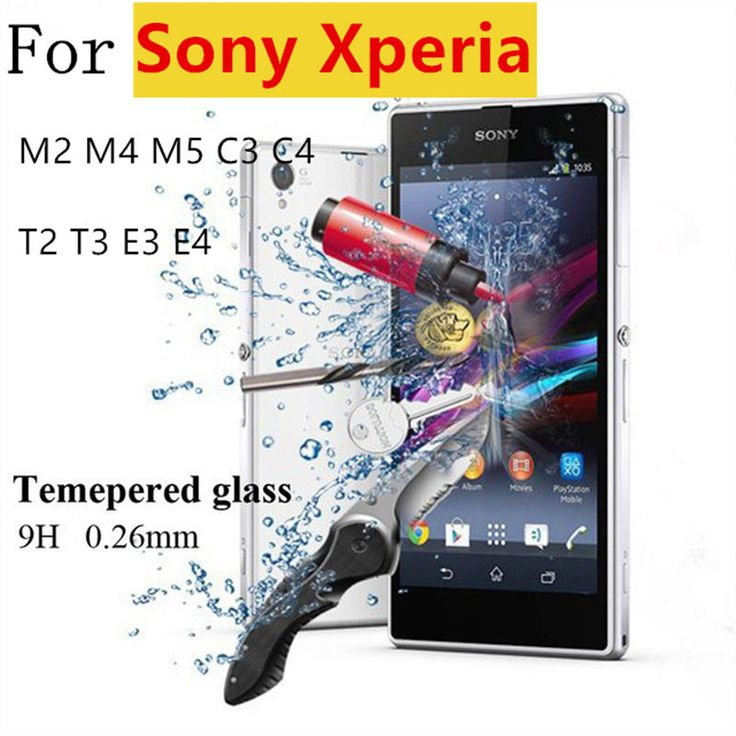 Premium 0.26mm 9H Tempered Glass Film Explosion Proof Screen Protector For Sony Xperia M2 M4 M5 C3 C4 T2 T3 E3 E4   Cleaning Kit -- This is an AliExpress Affiliate Pin. La oferta se puede encontrar haciendo clic en la VISITA botón