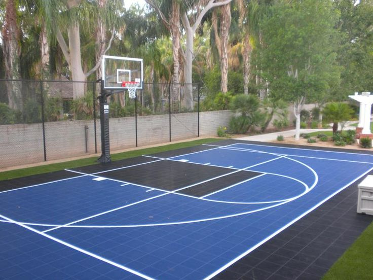 Best 25 backyard basketball court ideas on pinterest for What are the dimensions of a half court basketball court