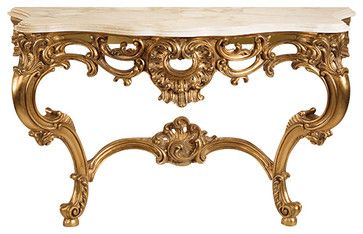 Louis XV Console with Calacotta Marble Top traditional-console-tables