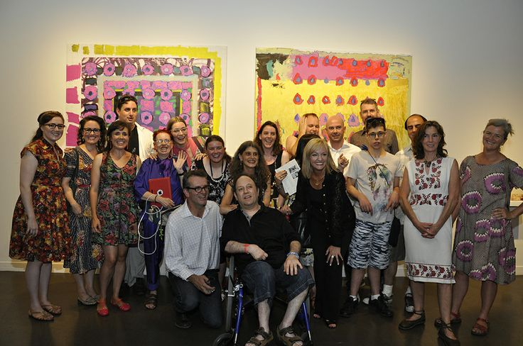 The Knowing Me, Knowing You (KMKY) opening was a huge success with over 200 friends and guests attending. The ten Arts Project artists and their external pairs pose in front of Rebecca Scibilia and Steven Asquith's finished collaborative piece.